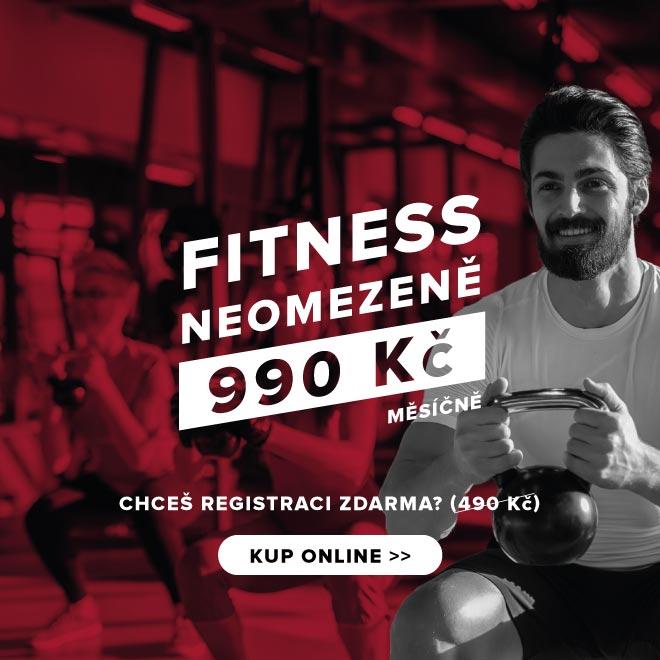 Fitness neomezeně 990 Kč/měsíčně. Chceš registraci zdarma? KUP ONLINE >>